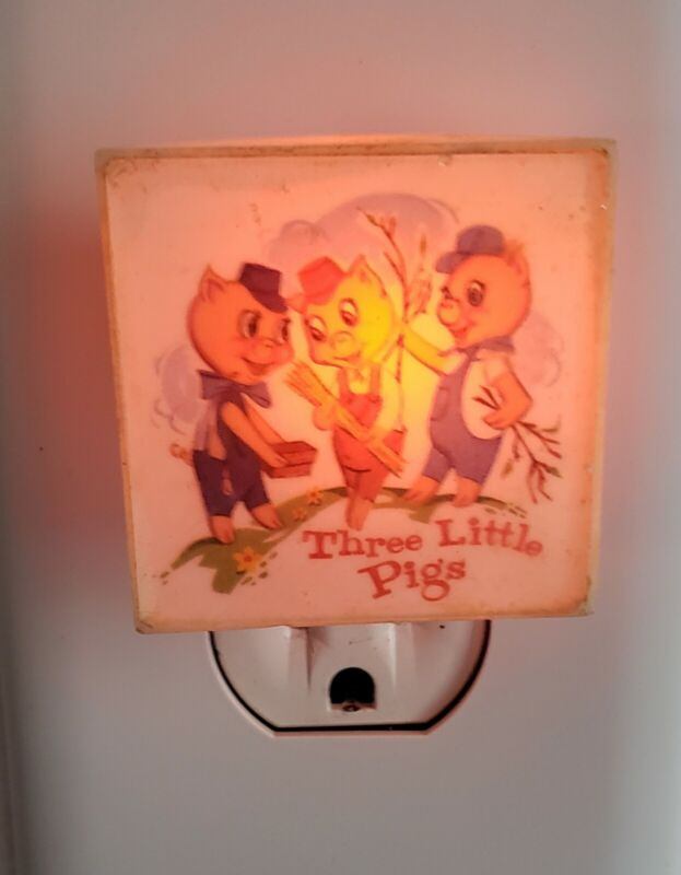 Vintage Three Little Pigs Night Light, Crest Specialty Made In USA, Works