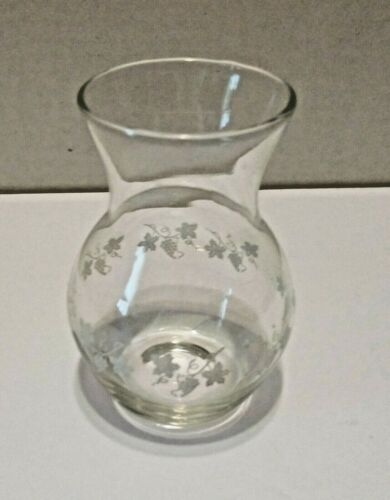 Vintage Clear Glass Etched Grapes And Leaves Bud Vase
