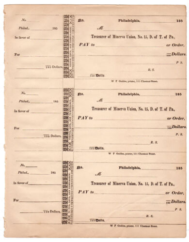 1850s US Unused Treasury Checks Sheet of 3, Treasurer of Minerva Union, PA*