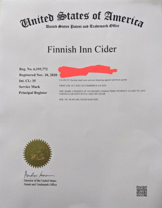 FINNISH INN CIDER USPTO Registered Trademark and domain name URL + Instagram