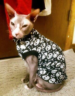 Sphynx Cat Clothes Halloween vest tee t-shirt sleeveless hairless sweater skulls