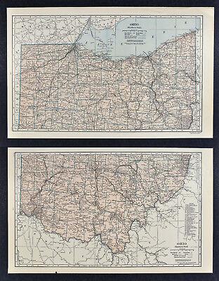 c1930 Hammond Railroad 2 Maps - Ohio - Columbus Cleveland Cincinnati Akron TX RR
