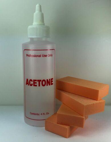 Pure Acetone 4 oz Acrylic Gel Nail Polish Remover + 4 Nail Buffers
