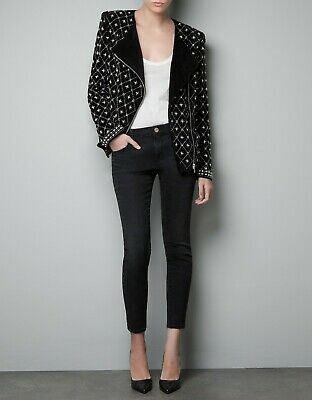 ZARA WOMAN VELVET BIKER JACKET WITH EMBROIDERED PEARLS Size  Small