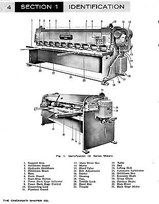 Cincinnati Mechanical Shear Manual Operations And Maintenance Manual With Parts