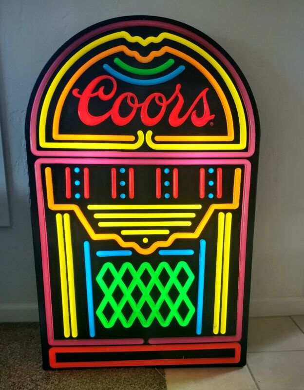 "Coors jukebox lighted sign 49""x32"" man cave bar"