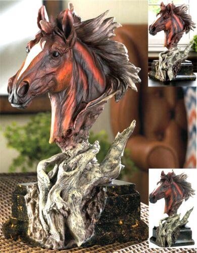 """12"""" DRIFTWOOD BASE & HORSE STALLION BUST SCULPTURE * NIB"""