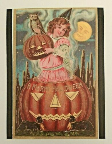 *UNUSED* Halloween Postcard: Witch In Pink, J-O-L Vintage Image~Reproduction