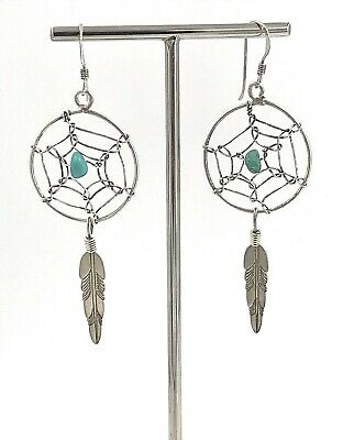 Vintage Q.T. Quoc .925 Sterling Silver & Turquoise Dream Catcher Wire Earrings for sale  Marietta