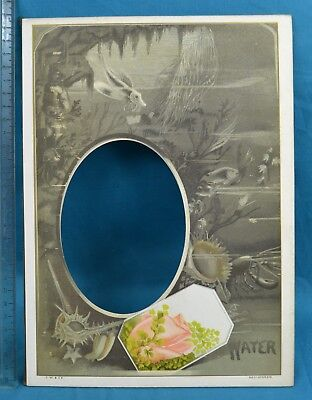 Charming Antique Victorian Colour Printed Album Photo Mount Elements Water
