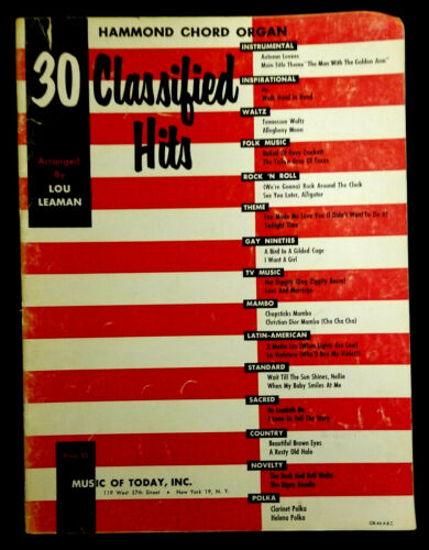30 Classified Hits Hammond Chord Organ (Arranged By Lou Leaman, 1956)