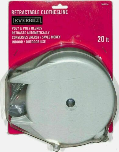 Everbilt Retractable Clothesline Hang Clothes Line 20 Ft Retracts Automatically