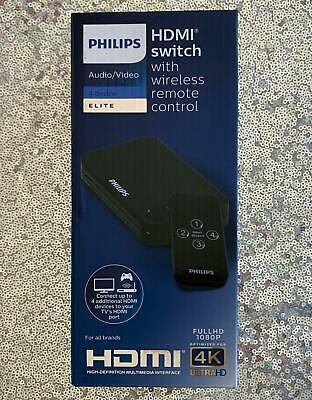 Philips 4 Device HDMI Switch, Wireless Remote, Use with 4K Smart TV Roku Xbox ..