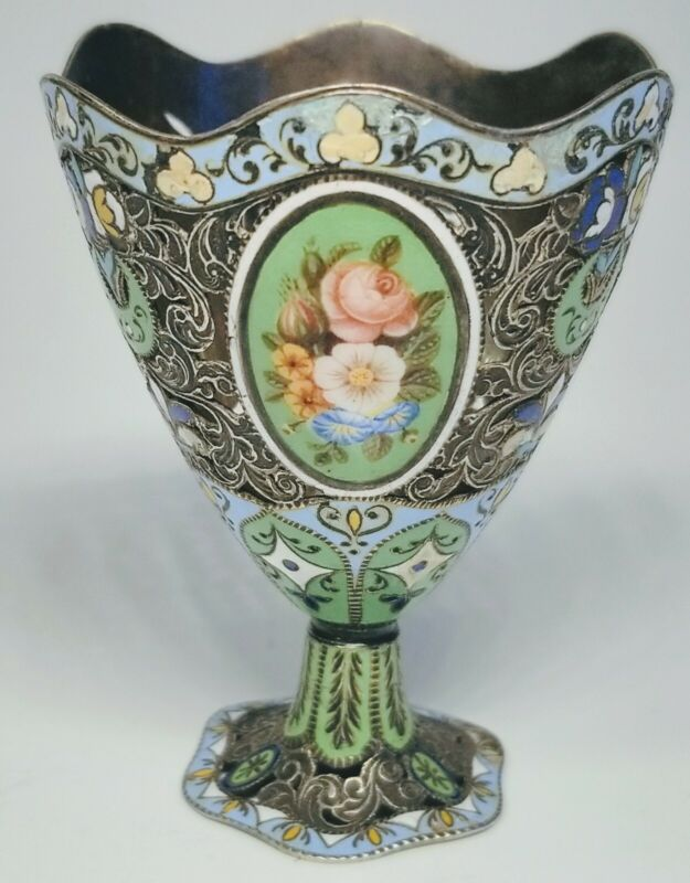 Antique 18th/19th Century Swiss Enamel and Silver Turkish Zarf Egg Cup