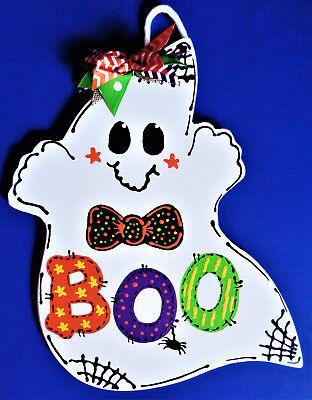 Boo Halloween Signs (GHOST Boo SIGN Halloween Wall Art Door Hanger Fall Seasonal Decor Holiday)