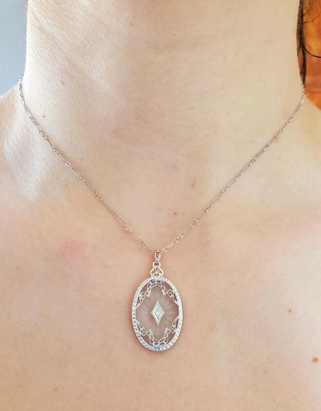 Fancy 14K Gold Camphor Glass Diamond Filigree Pendant Necklace
