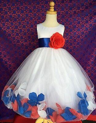 Red White Royal Blue 4th Of July Flower Girl Summer Bridesmaids Toddler Dress#24](Flower Girl Red And White Dresses)