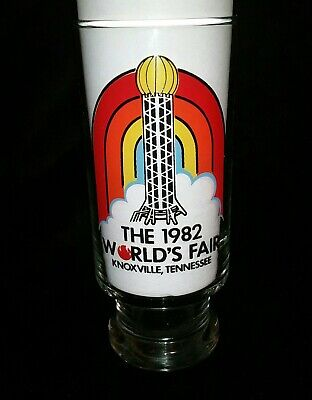 VIBRANT KNOXVILLE TN WORLD'S  FAIR 1982 SOUVENIR COLLECTORS DRINKING (Glasses Knoxville Tn)
