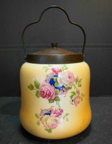 Porcelain Biscuit Barrel Cracker Jar 1900 Transfer Roses Brass Lid
