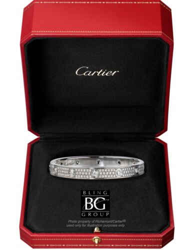 CARTIER 3.16ct. DIAMOND LOVE BRACELET 18k WHITE GOLD ALL SIZES  - $26,999.99