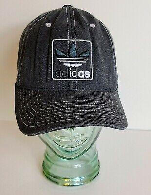 Adidas Men's Flex Fit Hat Cap Gray Grey Black Embroidered Size S-M Small Medium