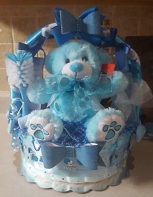 Blue Baby Boy Gift Basket Diaper Cake - Made To Order