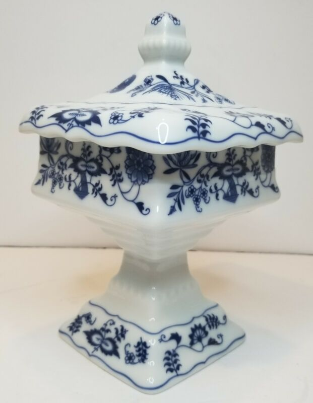 Blue Danube Wedding Dish / Candy Dish W/ Lid (rectangle stamp)