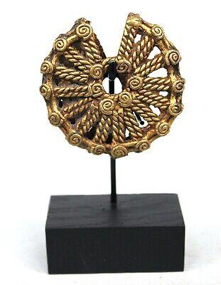 Art African African Jewel - Pendant Bronze Sun Dogon Base - 12 CMS