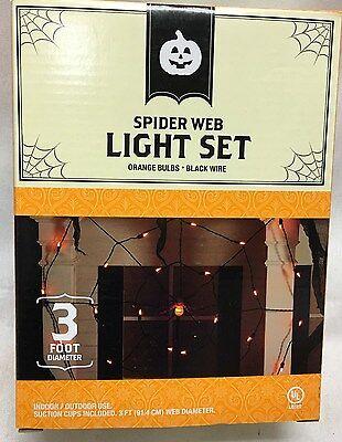 Halloween Outdoor Decor 3Ft Diameter Spider Web Orange Light Set With Spider