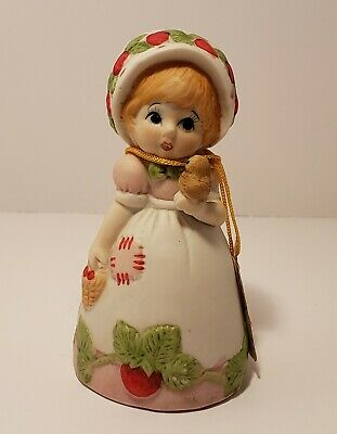 Vintage Strawberry Patches Bisque Porcelain 1980 Bell Girl Bird Bunny