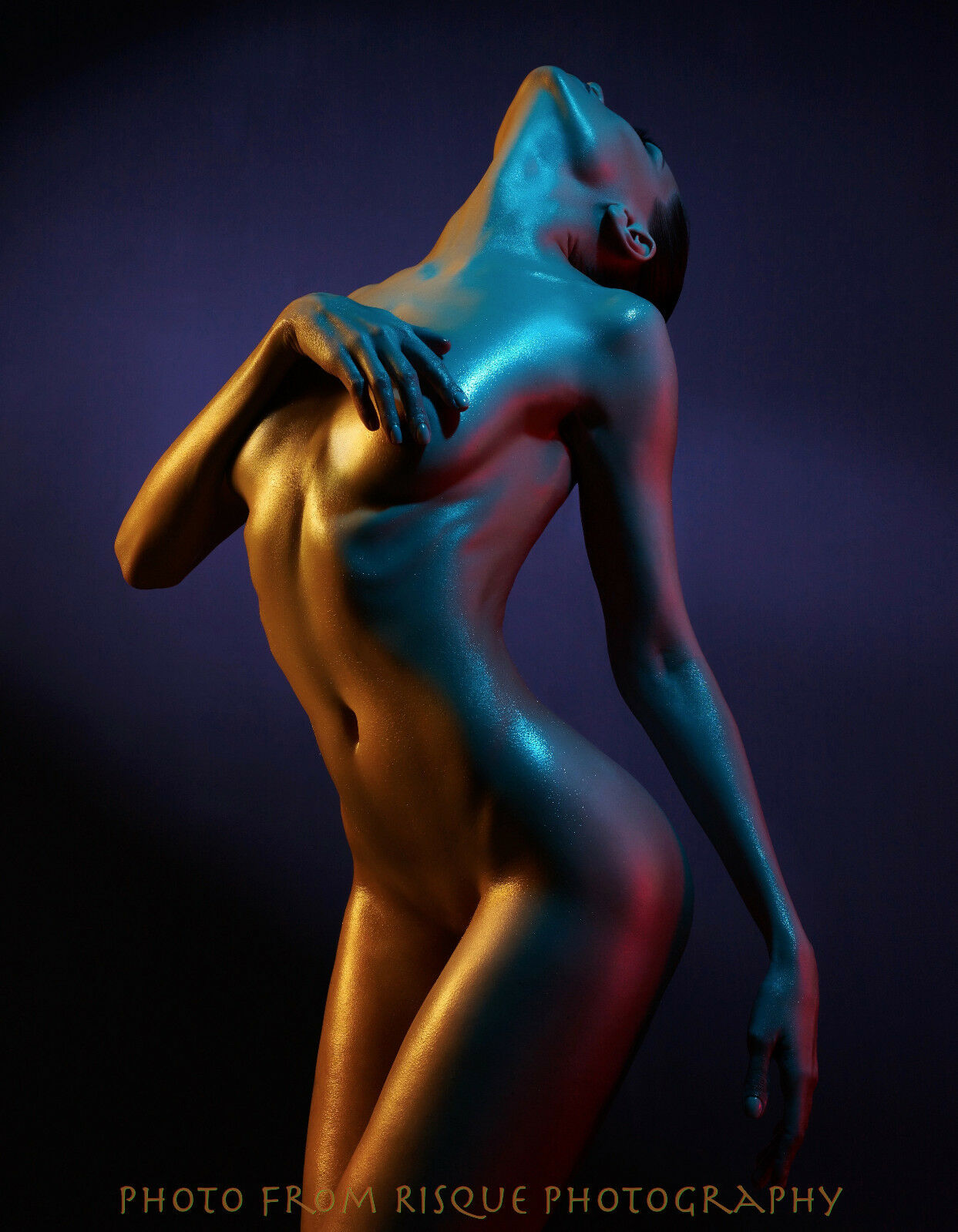 """Nude Woman in Blue /& Gold Shadow 8.5x11/"""" Photo Print Modern Naked Female Art"""