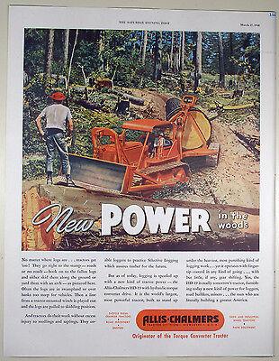 Vintage 1948 ALLIS-CHALMERS TRACTOR Lg Magazine Print Ad ROAD CONSTRUCTION