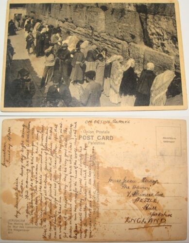 Jewish Judaica 1941 Jerusalem Wailing Wall Postcard WW2 British Army Soldier