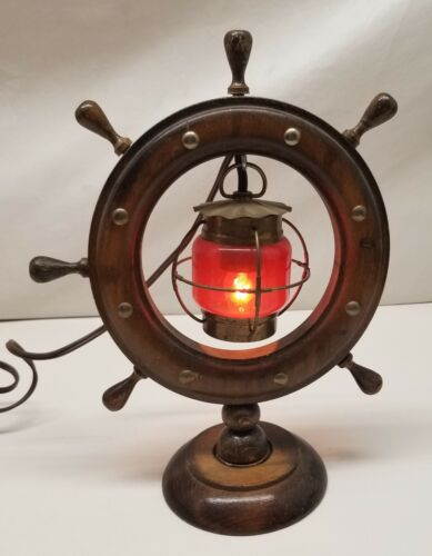 Vintage Nautical Themed Ship Wheel And Red Lantern Table Lamp | Ship Wheel Lamp