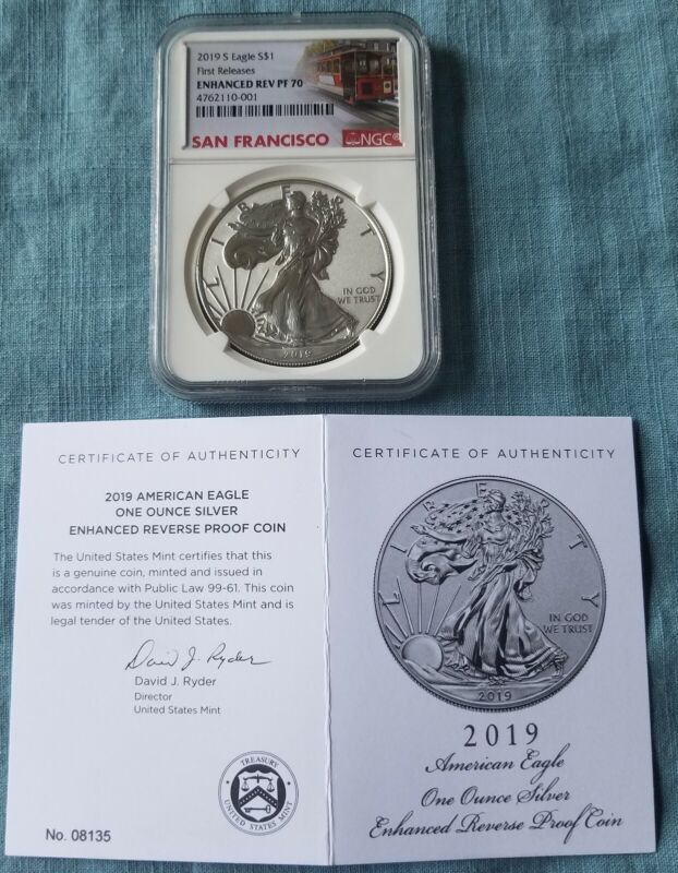 2019(S) $1 Silver Eagle Enhanced Reverse Proof NGC PF70  FIRST RELEASES