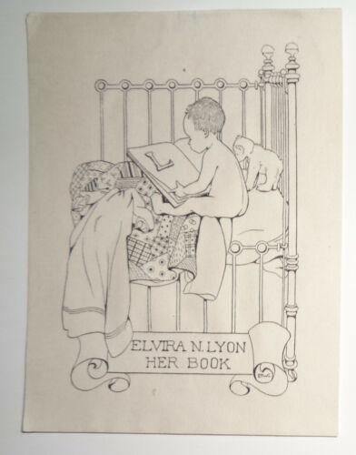 Elvira N. Lyon Ex Libris Bookplate