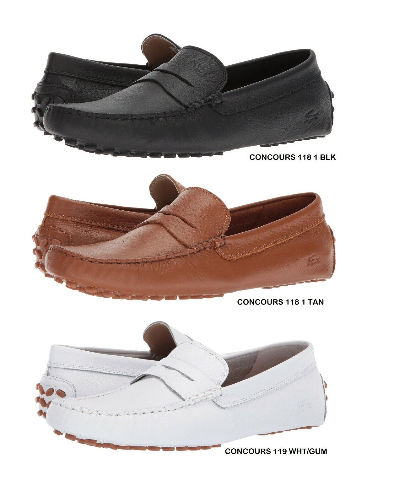 Lacoste Concours Men's Casual Slip on Croc Logo Leather Loafer Shoes Sneakers