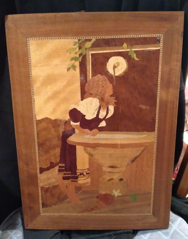 Vintage Roman Girl At Fountain Inlaid Wood Marquetry Panel decor art handmade