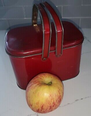 """Vintage •SMALL 6"""" RED TIN METAL LUNCH BOX BASKET• Hinged w/Handles"""