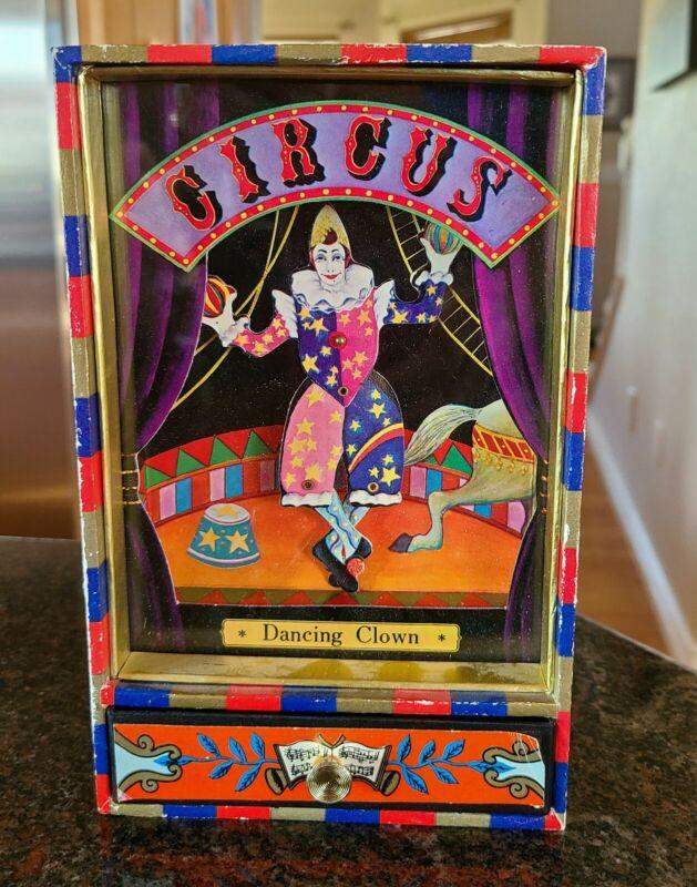 Vintage Koji Murai Circus Dancing Clown Wind-up Music Box Toy