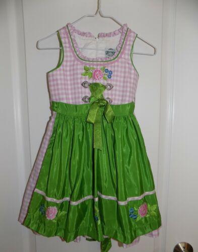 HAMMERSCHMID Girls Trachten Dirndl Dress Oktoberfest 2-3? Euro 86 Pink Green NWT
