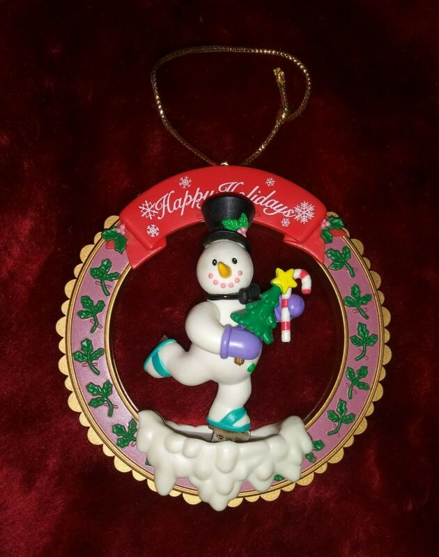 1998 Skating Snowman Maggie Luk Holiday Classics Christmas Ornament Eckerd