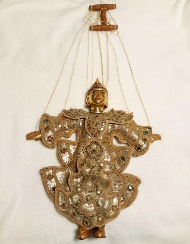 "Vintage Thai Indonesian Burmese Carved Wood Marionette Gold Puppet LARGE 15"""
