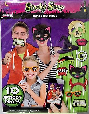 10 SPOOKY HALLOWEEN PHOTO BOOTH PROPS Party Activity Sticks Kids Teens Fun NEW