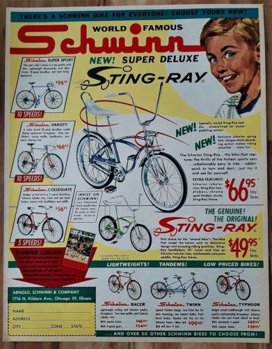 VINTAGE 1964 SCHWINN STINGRAY / SUPER DELUXE STINGRAY BICYCLE ADVERTISEMENT