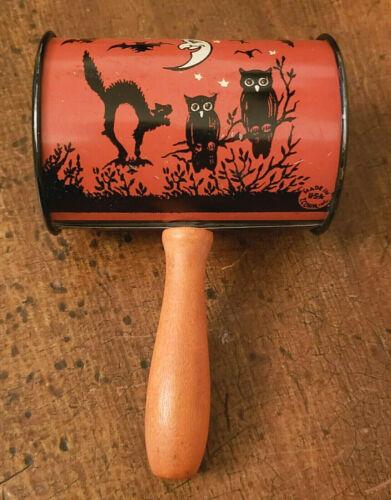 ANTIQUE Vintage 1930-1950s Halloween TIN NOISEMAKER Black Cat MOON Witch T.COHN