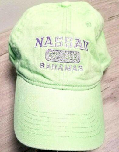 Nassau Bahamas Pastel Green Purple Embroidered Stonewashed Strapback Cap / Hat