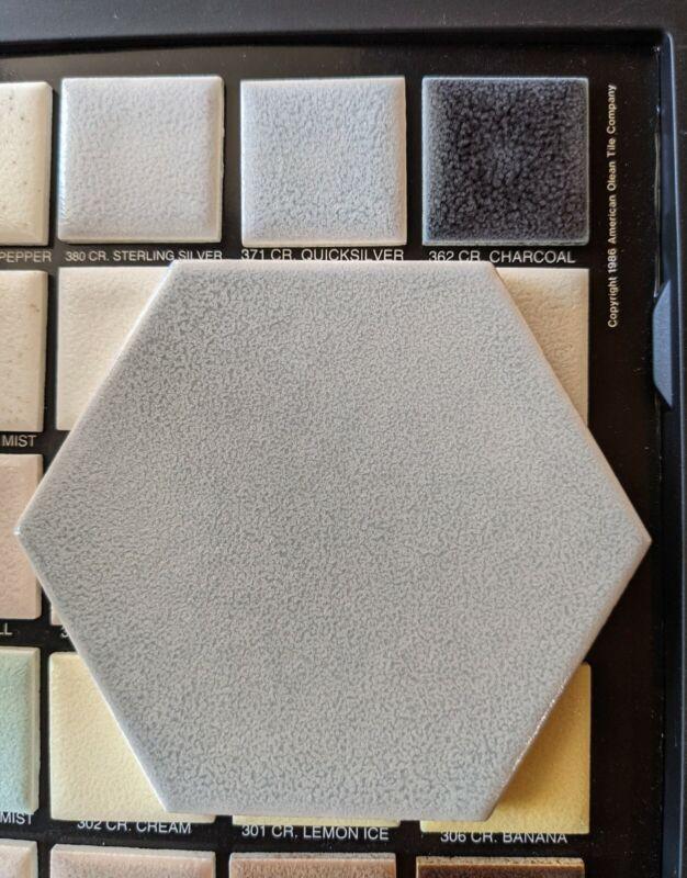 2 pcs Vintage American Olean Crystalline #371 Quicksilver Hexagon Ceramic Tile