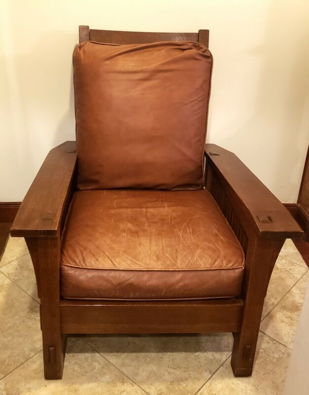 Stickley 89-369-LC Spindle Morris Wood Arts & Crafts Mission Oak Chair Signed US