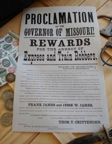 Jesse James Authentic Wanted Poster